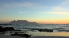 Bloubergstrand at the sunset (view to Cape Town) Stock Footage