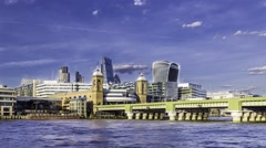 Timelapse of City of London skyline  near Cannon street Stock Footage