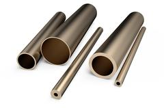 Rolled metal,  assortment  of  bronze pipes Stock Illustration