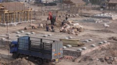 Construction site of Chinese traditional Siheyuan Stock Footage