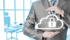 Protect cloud information data concept. Security and safety of cloud computing - stock photo