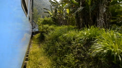 Train from Nuwara Eliya to Ella among tea plantations in the highlands of Sri La Stock Footage