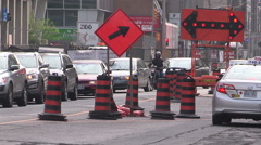Construction traffic jam and delays in downtown Toronto Stock Footage
