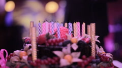 Happy Birthday cake with fireless candles Stock Footage