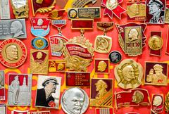 Stock Photo of a lot of Soviet Union badges