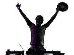 Disc jockey man happy joy arms raised silhouette Kuvituskuvat