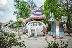 Unusual slide attraction for children, fairy-tale characters Kuvituskuvat