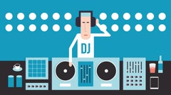 DJ with turntables Stock Footage