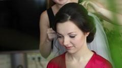 fitting Wedding Veils bride - stock footage