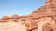 Interesting rock formations in Goblin Valley State Park Stock Footage