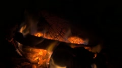 Sparkles on  fireplace with logs burning slow motion 1920X1080 HD video Stock Footage