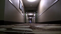 Hotel hallway from ground level with sound Stock Footage