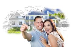 Stock Illustration of Military Couple with Keys Over House Drawing and Photo Combination on White.