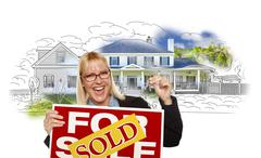 Woman Holding Keys, Sold Sign Over House Photo and Drawing - stock illustration