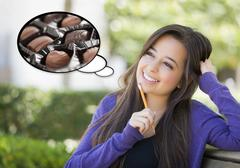 Pensive Woman with Delicious Chocolate Candy Inside Thought Bubble. Stock Illustration