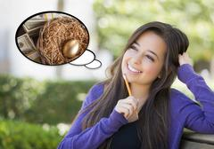 Pensive Woman with Money and Golden Nest Egg Inside Thought Bubble. - stock illustration