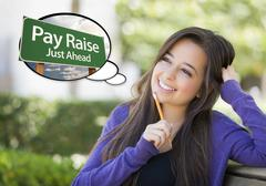 Young Woman with Thought Bubble of Pay Raise Green Sign Stock Illustration