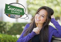 Pensive Young Woman with Thought Bubble of Success Just Ahead Green Road Sign Stock Illustration