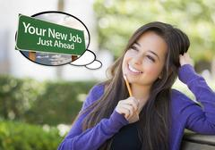 Young Woman with Your New Job Sign Thought Bubble Stock Illustration