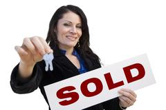 Hispanic Woman Holding Sold Sign and Keys On White - stock illustration