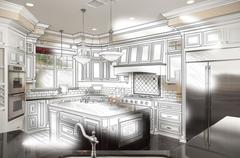 Beautiful Custom Kitchen Design Drawing and Photo Combination. - stock photo