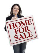 Hispanic Woman Holding Home For Sale Real Estate Sign Isolated On White. - stock illustration