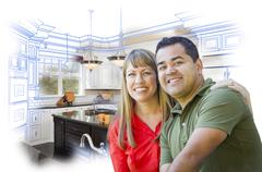 Mixed Race Couple Over Kitchen Design Drawing and Photo Stock Illustration
