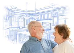 Happy Laughing Senior Couple Over Custom Kitchen Design Drawing on White. - stock illustration