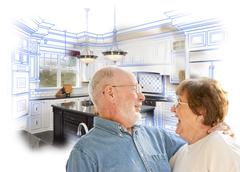 Senior Couple Over Kitchen Design Drawing and Photo on White - stock illustration