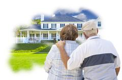 Daydreaming Senior Couple Over Custom Home Photo Inside Thought Bubble. - stock illustration