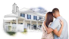 Military Couple Looking At House Drawing and Photo Combination on White. Stock Illustration