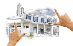 Hands Framing House Drawing and Photo Combination on White. Stock Illustration