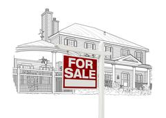 Custom House and For Sale Real Estate Sign Drawing on White Background. - stock photo