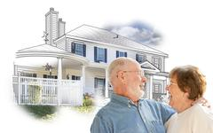 Happy Senior Couple Over House Drawing and Photo Combination on White. Stock Illustration