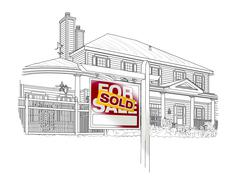 Custom House and Sold Real Estate Sign Drawing on White Background. Stock Photos