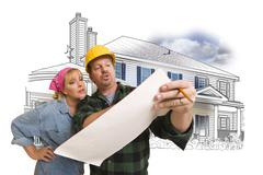 Woman with Contractor Over House Drawing and Photo on White Stock Illustration