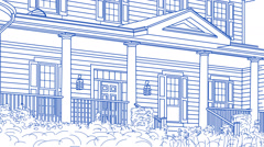 Drawing of House Transitioning Back To Reveal Finished Home Stock Footage