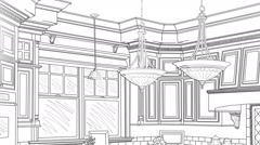 Custom Kitchen Drawing Panning to Reveal Finished Design - stock footage