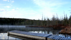 Algonquin Morning Lake Mist Birds Chirping Stock Footage