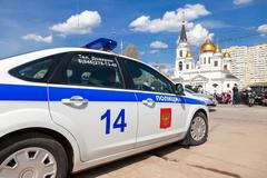Russian patrol vehicle of the State Automobile Inspectorate Stock Photos