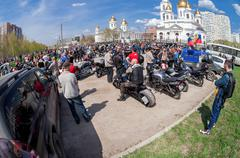 The traditional annual May Day gathering of bikers in Samara, Russia Stock Photos