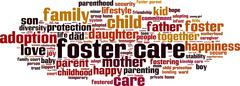 Foster care word cloud - stock illustration