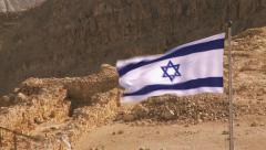 Massada Rock with Israeli flag Stock Footage