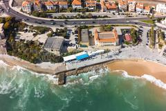 Aerial view of Estoril coastline near Lisbon in Portugal - stock photo