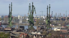 Shipyard cranes time lapse - stock footage