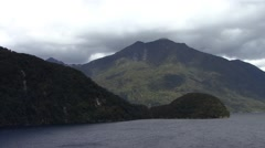 New Zealand Fjord Misty Mountains Stock Footage
