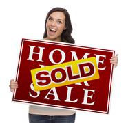 Mixed Race Female with Sold Home For Sale Sign Stock Illustration