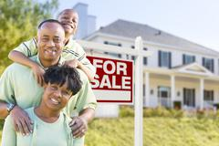 Happy African American Family In Front of For Sale Real Estate Sign and House - stock illustration