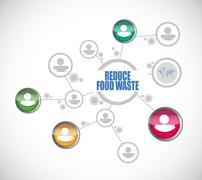 Stock Illustration of reduce food waste people network sign concept