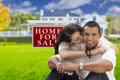 Hispanic Couple, New Home and For Sale Real Estate Sign - stock illustration